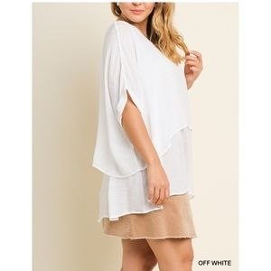 New! Off White Umgee Layered Tunic Top